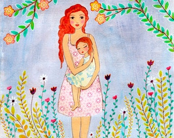 Mother and Daughter Art Print - A Mother's Love - Mother and Daughter Painting - Mother and Child Painting - Mother And Child Art Print