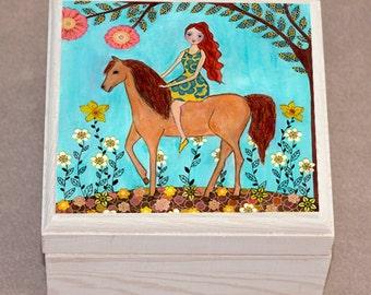 Horse Jewelry Box, Girl and Horse Trinket Box, Horse Gift Box, Jewellery Box
