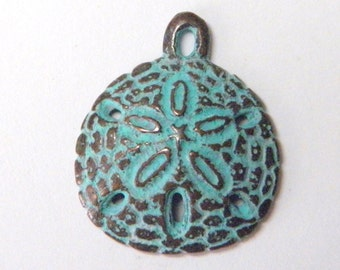 Sale! 20mm Green Patina Sand Dollar Pendant Mykonos Greek Cast Beads