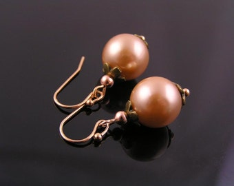 Rose Pearl and Rose Gold Earrings, Light Weight Pearl Earrings, Pink Pearl Earrings