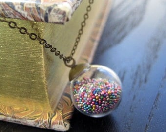 Antiqued Brass Glass Globe Pendant - Glass Ball Necklace - Rainbow Micro Beads