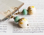 Sunny Silya - earrings with hand painted vintage beads