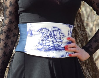 Pirate Corset Indigo Tall Ships Waist Cincher Belt Custom Any Size C