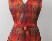 1960s-70s Jerkin Vest Handwoven Mohair with Fringe by Strathtay Originals