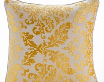 Decorative Throw Pillow Covers Couch Pillow Sofa Pillow Toss Pillow Burnout Velvet Pillow Case 16x16 Throw Pillow Cover Mimosa Yellow Damask