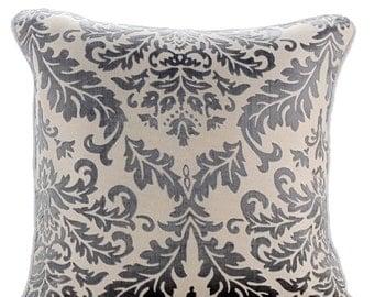 Decorative Sham Pillow Covers Couch Pillows Sofa Pillow Burnout Bed Pillow Case Velvet 24 x 24 Throw Pillow Cover Paloma Grey Damask
