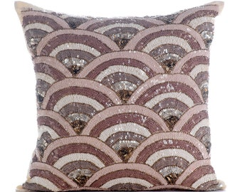 "Beige Accent Pillows, 16""x16"" Silk Pillows Covers For Couch, Square  Sequins & Beaded Sparkly Glitter Decorative Pillows Cover - Splendor"