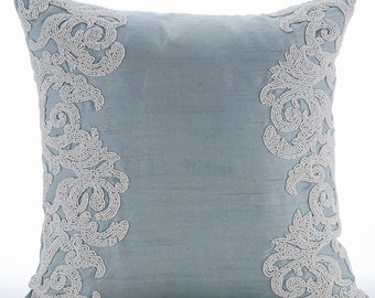 "Luxury Light Blue Throw Pillows Cover, 16""x16"" Silk Pillowcase, Square  Beaded Boroque French Theme Pillows Cover - White Waters"