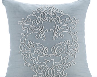 "Light Blue Pillows Cover, 16""x16"" Silk Pillows Covers For Couch, Square  Beaded Boroque Damask French Theme Pillows Cover - French Wedding"