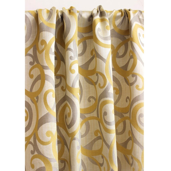 Yellow and grey scrolls curtain panels 52 quot x84 quot rod pocket drapes home