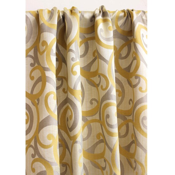 Yellow And Grey Scrolls Curtain Panels 52x84 Rod
