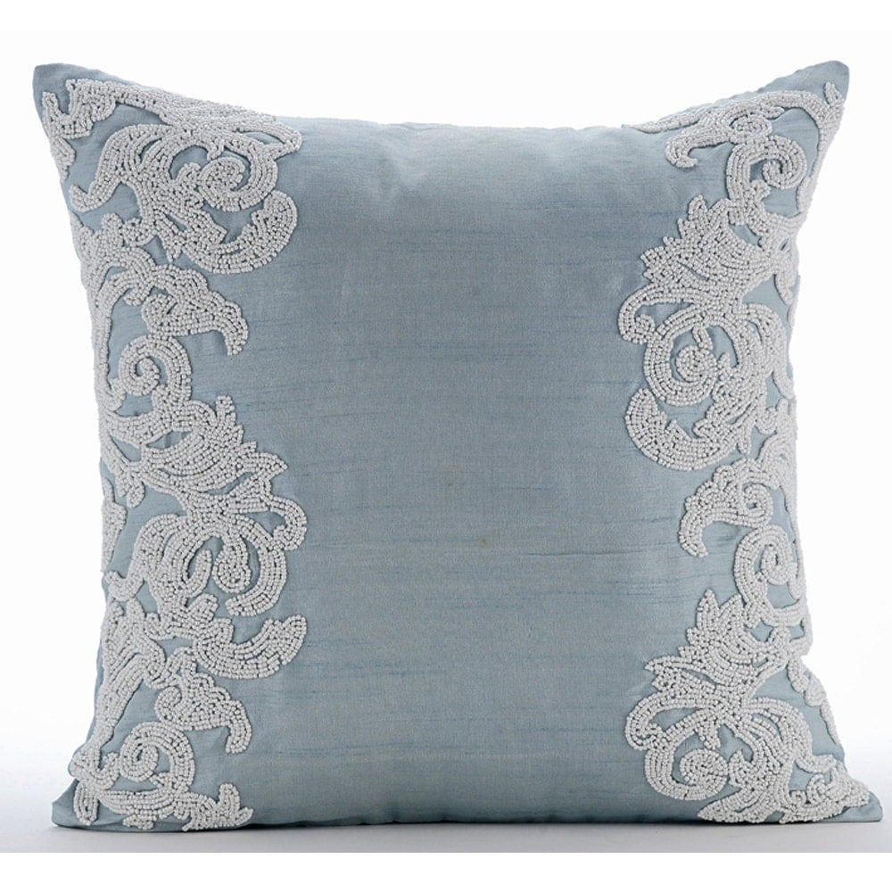 Luxury Light Blue Throw Pillows Cover 16x16 Silk