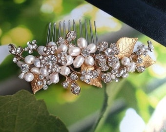 Pearl Hair Comb with Crystals Rhinestones and Leaves, Pearl Headpiece, Pearl Hair Comb, Bridal Hair Accessory, Wedding Hair Piece, Boho Comb