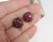 SALE Rose Cut Real Natural Diamond Halo Pink Sapphire Pave Matched Pair  Finding Earring Post Back Pair 18Kt Gold Silver