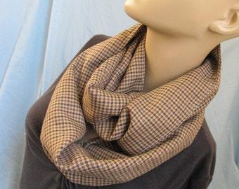 Sale - Brown Plaid Wool Cowl/Circle Scarf/Infinity Scarf (4379)