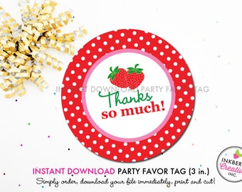 Sweet Strawberry - Printable 3 inch Birthday Party Favor Tags - Instant Download PDF File