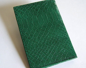 Green Leather Passport Cover - United States and Canada - Faux Snakeskin Finish