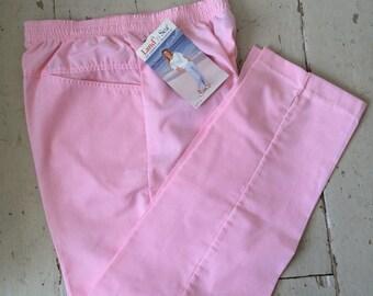 1980s Pink Pinstripe Seersucker Spring or Summer Pants Elastic Waist LAND N SEA Size 12 NOS