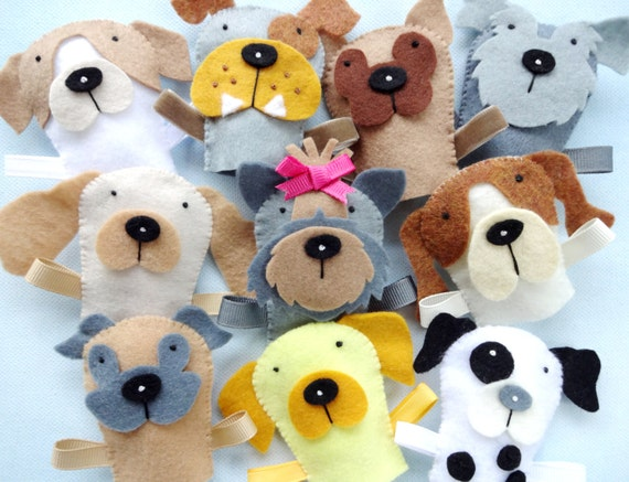 Felt Dog Finger Puppets Sewing Pattern Pdf Epattern