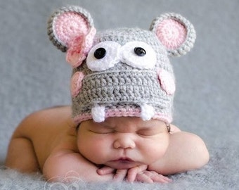 Crochet Hippo baby hat....photo baby hat...crochet baby hat...adorable hippo baby photo prop