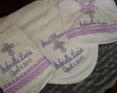 Gabriella Personalized Christening Bib, Blanket and Burp Cloth Set - With  choice of Name and/or Date
