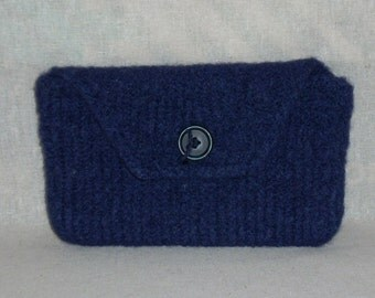 Small Navy Felted Clutch/Cosmetic Bag
