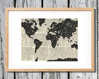 Vintage World Map- Art Print on Vintage Antique Dictionary Paper - Atlas - Modern