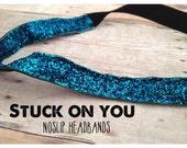 no slip | non slip | fitness headband | yoga headband | running headband | marathon | softball | glitter | sparkle | turquoise