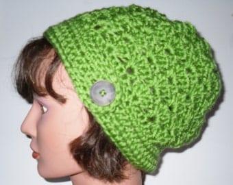 Crochet Button Tab Slouchy Hat Guacamole