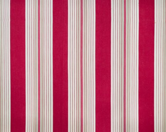French vintage ticking w cherry red stripes