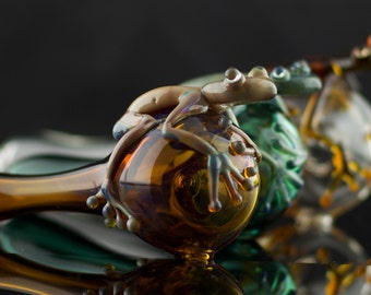 Frog Large Glass Pipe Spoon Hand Blown Thick Wall in YOU CHOOSE the COLOR, Made to Order