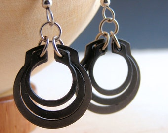 Hoop Dangle Earrings Hardware Jewelry Industrial Black Metal Gifts Under 20
