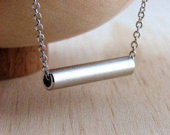 Minimalist Pendent Necklace Hardware Jewelry Industrial Metal Tube Necklace