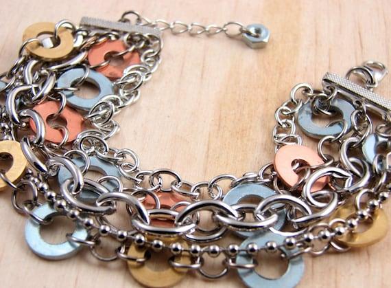 Chain Cuff Bracelet Multi Strand Bracelet Hardware Jewelry Copper and Brass Washers