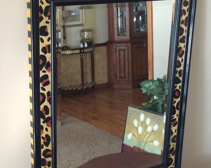 Whimsical painted mirror, leopard painted mirror, painted wall mirror, wall mirror