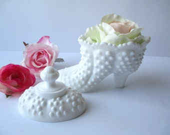Vintage Fenton Milk Glass Hobnail Candy Box Slipper