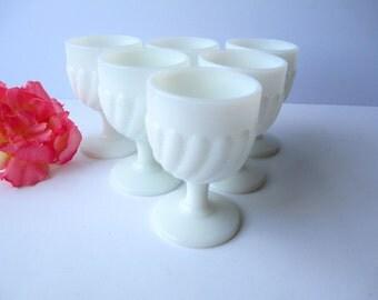 Vintage Milk Glass Beaded Cordials Set of Six