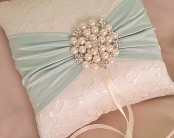 Mint Green Ivory Ring Bearer Pillow Lace Ring Pillow Pearl Rhinestone Accent