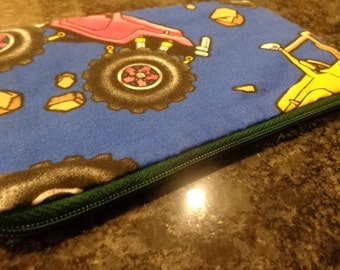 Blue zippered pouch