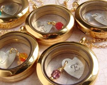 Bridesmaid Jewelry, Personalized Gift Bridesmaid necklace Initial Locket Glass locket Living locket floating locket memory locket