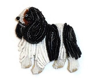 Cavalier KING CHARLES SPANIEL keepsake beaded dog pin pendant whimsical art jewelry (Made to Order)