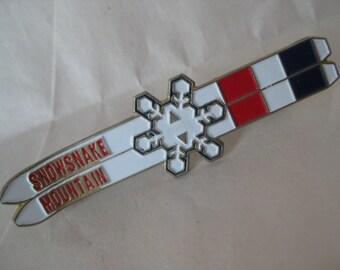 Snowsnake Mountain Brooch Skies Snowflake Gold Red White Blue Vintage Pin