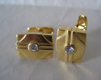 Gold Cuff Links Rhinestone Vintage Clear