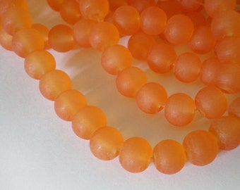 25pcs - 8mm Frosted Tangerine Orange round Glass beads