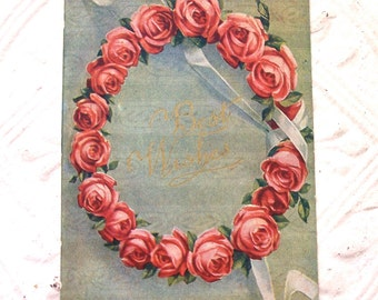 Antique Postcard Best Wishes Old Correspondence Letter Paper Ephemera Scrapbooking Mixed Media Supplies Flowers