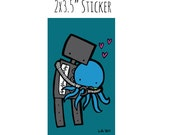 Robot Hugging Octopus Sticker