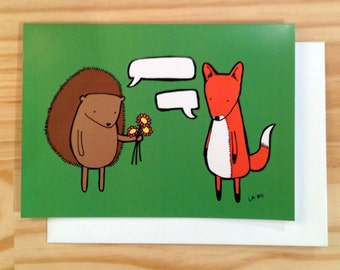 Greeting Card, Fox and Hedgehog, Make Your Own Comic