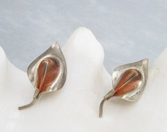 Sterling Calla Lily Earrings Vintage Flower Jewelry E6387