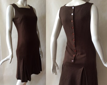 1960's button back dress, with kick pleats, tank top bodice, and squared neckline, dark brown, small (size 4-6)