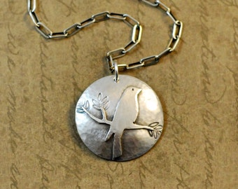 Sterling silver bird on a branch, charm, necklace, pendant, sawed, soldered, oxidized, rustic, simple, nature, outdoors, tree, whimsical